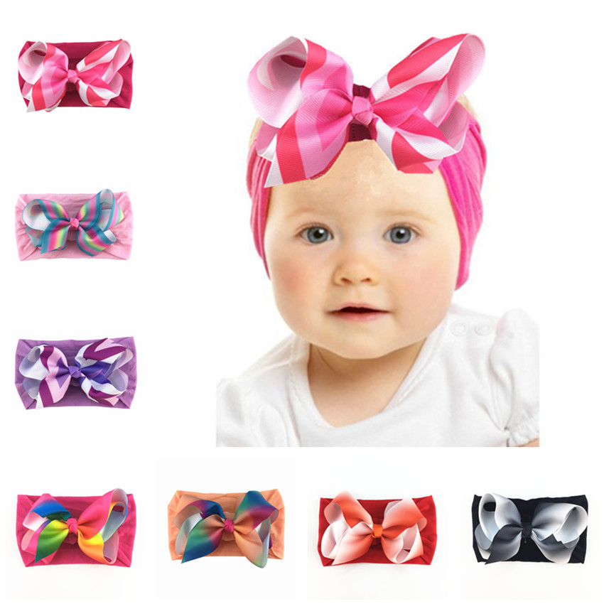 New Baby Girls Nylon Wide Headband With Printed Ribbon Bows Knot Headbands Newborn Children Headwear Hair Accessories