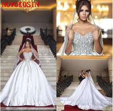 2019 High Quality Beading Crystal Satin Wedding Gowns Designer A-Line Royal Train Zipper Back Sweetheart Bridal Dresses