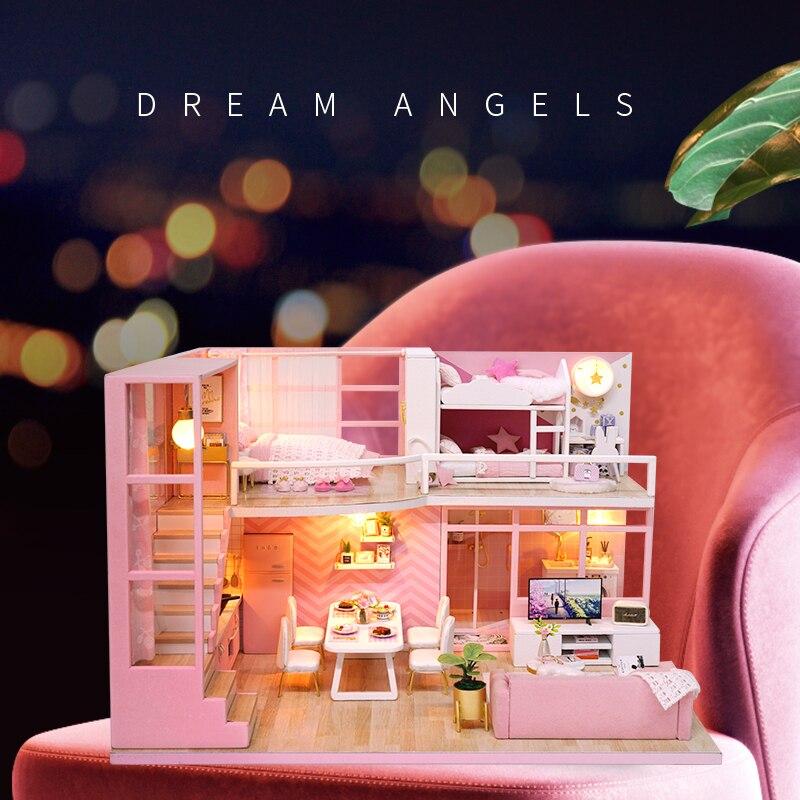 Bricolage amical maison De poupée meubles rêve ange Miniature maison De poupée jouets pour les filles Casinha De Boneca Lol maison