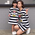 Mother Daughter Dresses 2016 New Fashion Autumn Girls Striped Dress Family Matching Girls Clothes Moeder en Dochter Mae e Filha