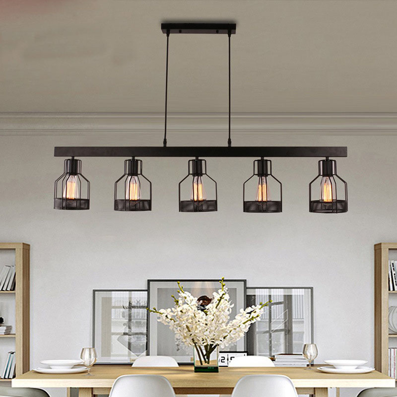 Modern Black Painted Wrought Iron Pendant Light with E27 Edison Bulb for Dining Room Living Room Bar|Pendant Lights|Lights & Lighting - title=