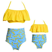 Summer High Waist Mom And Baby Swimsuit Family Look Mother And Daughter Clothes Girls Swimwear Family