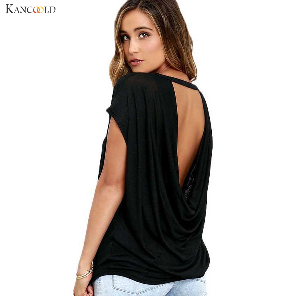 9e00d37a41 Women Loose Batwing Sleeve Backless TShirt Female Solid All Match Tops Lady  Casual O-Neck