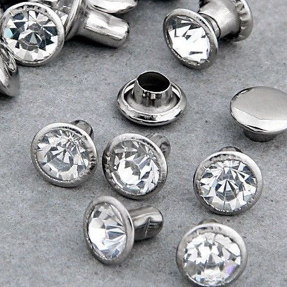 100Sets 8mm CZ Crystals Rhinestone Rivets Жылдам күміс Nailhead Spots Studs DIY Shipping Free