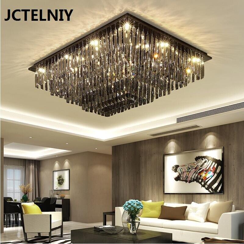 Lampe en cristal salon rectangulaire simple moderne led plafond lampe salon atmosphère créative lampes à usage domestique