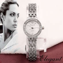 Casual Clock Silver Bracelet Women Rhinestone Watch