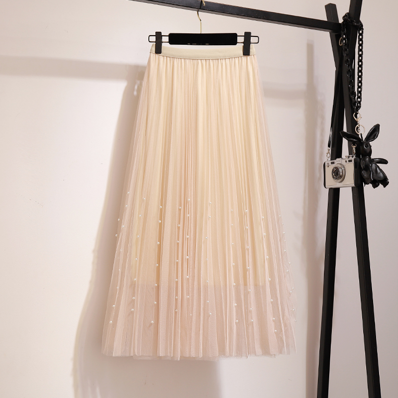 New 2019 Spring Summer Skirts Womens Beading Mesh Tulle Skirt Women Elastic High Waist A Line Mid Calf Midi Long Pleated Skirt 27