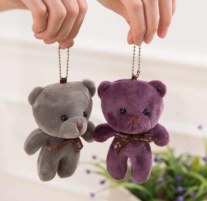 10colors bonitos-urso do amor do presente de casamento enchido boneca do brinquedo de pelúcia, 9 cm pelúcia animal urso brinquedo boneca com chaveiro