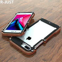 R JUST For Apple iPhone 8 Cover Case Luxury Hard Aluminum Alloy Wood Protective Armor Phone Case for iPhone 7 8 Plus Back Cover