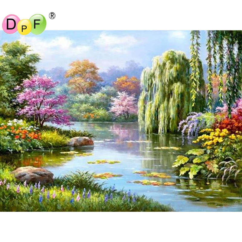 New 3D DIY Diamond Painting Cross Stitch River willows Crystal Diamond Embroidery Mosaic pattern rhinestone Home Decor picture