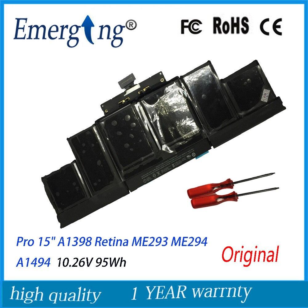 10.26 V 95Wh Véritable Original Nouveau A1494 Batterie D'ordinateur Portable Pour Apple Macbook Pro 15 A1398 Retina Fin 2013 Mi 2014 ME293 Avec outil