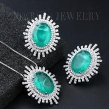 Newranos ensemble de bijoux en zircone cubique pour femmes, ensemble de bijoux, collier et clous de boucles doreilles, pierre de Fusion ovale, ensemble de bijoux à la mode, SFX0021894