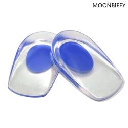 1 Par Homens Mulheres solas de calcanhar Gel de Silicone Almofada palmilhas aliviar a dor do pé protetores de Espora Apoio pad Sapata do Salto Alto inserções
