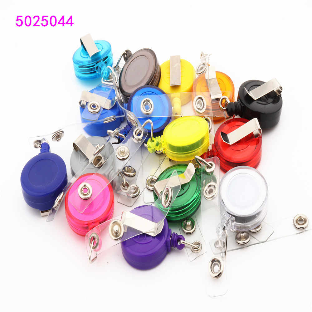 20 colors Retractable Pull Badge Reel Zinc Alloy  Plastic ID Lanyard Name Tag Card Badge Holder Reels  Key Ring Chain Clips