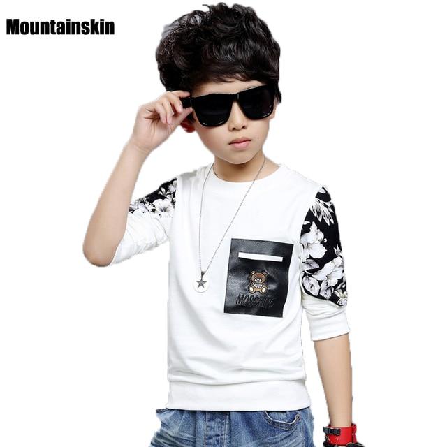 Print Boys Long Sleeve T-shirts 2017 Spring 4-13Y Children's Clothing Casual Boys Pullover Brand Fashion Kids Tops School SC786
