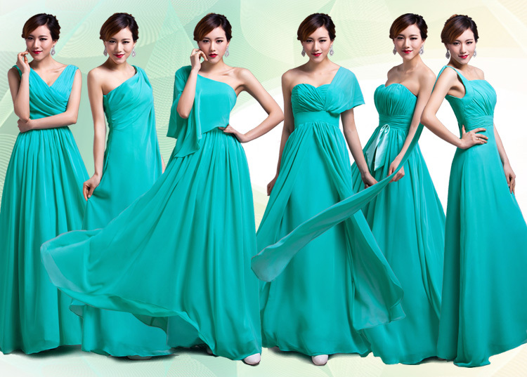 Turquoise Mint Green Purple Gold Coral Customized 2016 Long Chiffon Sexy Bridesmaid Dresses summer gowns Cheap