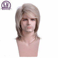 MSIWIGS Men Wigs Straight Synthetic Wigs Long Male Hair Light Blonde Mens Wig with Bangs Heat Resistant Toupee
