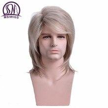 Msiwig perruque synthétique lisse et longue pour hommes, toupet résistant à la chaleur, Blonde légère et légère