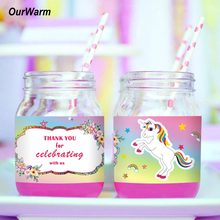 OurWarm 12 Pcs Label Botol Air Kuda Unicorn Unicorn Anak Ulang Tahun Dekorasi Alat Pesta Pernikahan Baby Shower(China)