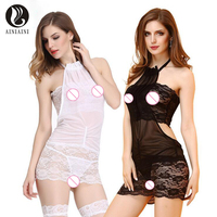 Intimate Woman Lingerie For Sexy Halter Strapless Erotic Costumes Hollow Out Baby Dolls Corset Allure Sleepwear T Back Set T1125