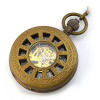 Brown Wheel Skeleton Skeleton Mechanical Hand Wind Pocket Fob Watches Clamshell Men's Watch Pendant Necklace relogio de bolso