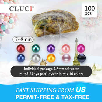 CLUCI 100pcs 7-8mm Akoya Mixed 10 Colors Saltwater Pearl Oyster  Quality Rainbow Oysters with Akoya Pearls - DISCOUNT ITEM  10% OFF All Category