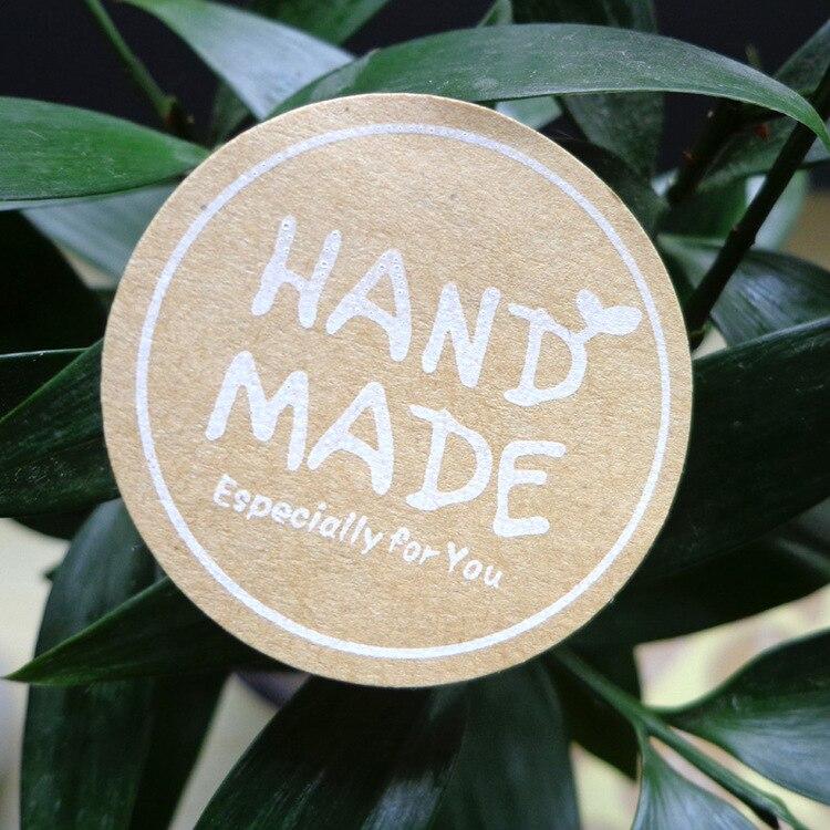 120Pcs 2019 Hot Sale Hand Made Circle Handmade Cake Packaging Sealing Label Kraft Sticker Baking DIY Gift Round Stickers M1053