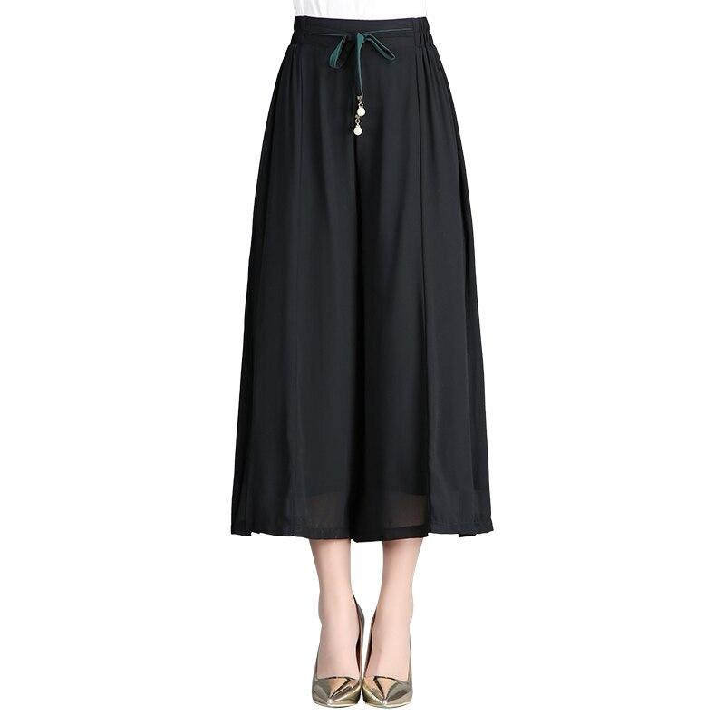 2019 Spring Summer New Women Pants Korean Plus Size High Waist Elastic Chiffon Wide Leg Pants Loose Black  Casual Pants Female
