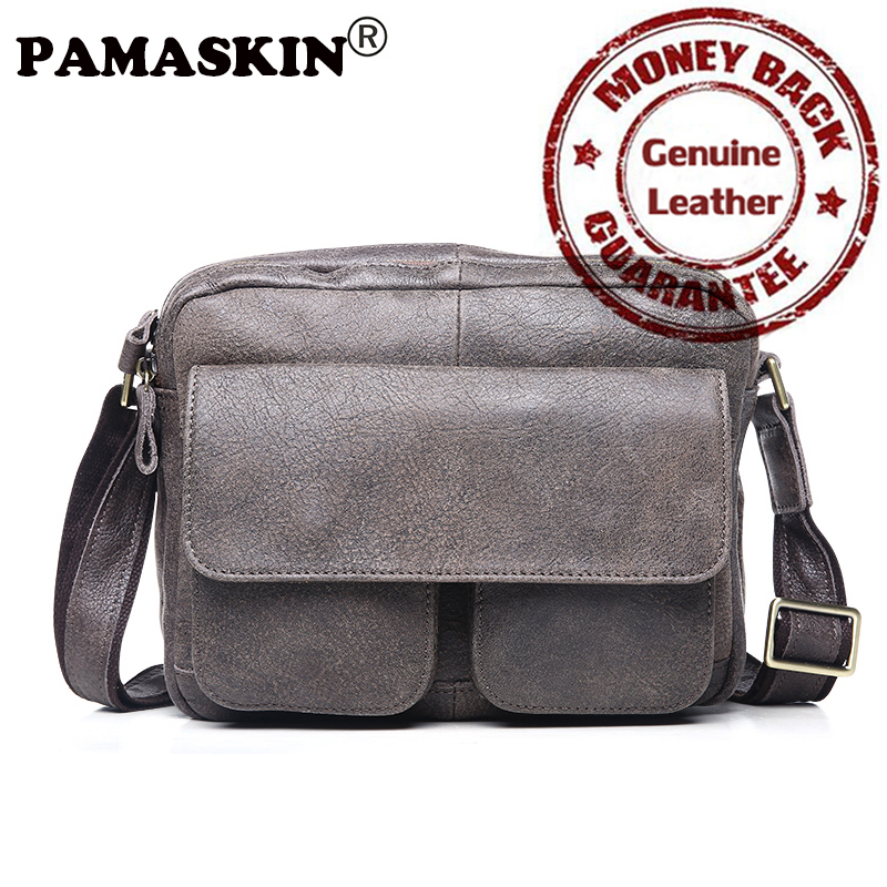PAMASKIN Brand Premium Genuine Leather Men Single Shoulder Bags Male Crossbody Bags 2018 New Arrivals Cover Style Messenger Bags 2016 new fashion men s bags genuine leather men s messenger bags the first layer cowhide single shoulder bags crossbody bags