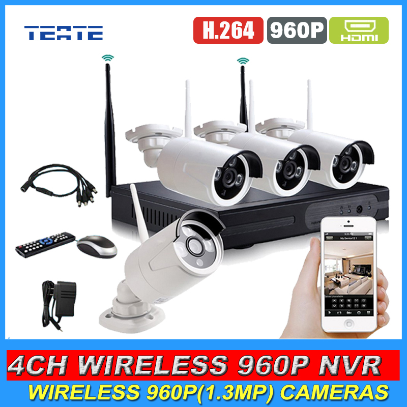 Home Safety HD 4CH CCTV System Wireless NVR 4pcs 960P 1.3MP Waterproof IP WIFI Camera Security Safety Kit 4channel