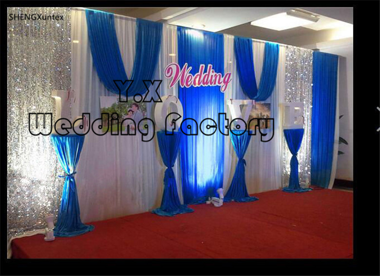 10ft*20ft White Color Stage Background \ Wedding Backdrop Curtain With royal blue Swag And The silver Sequin Fabric10ft*20ft White Color Stage Background \ Wedding Backdrop Curtain With royal blue Swag And The silver Sequin Fabric
