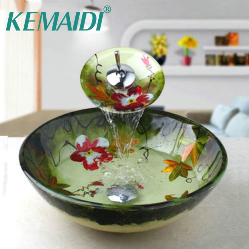 KEMAIDI Tempered Glass Basin Sink Washbasin Faucet Set Counter top Washroom Basin Vessel Vanity Sink& Bathroom Mixer