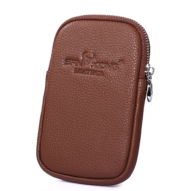 First Layer Cowhide Cell/Mobile Phone Case Hook Skin Belt Waist Bag Travel Casual Hip Purse Bags Men Genuine Leather Fanny Pack