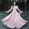 Mulheres outono vestidos bohemia estilo retro romântico pink ribbon bow manga comprida maxi dress robe longue ch-76
