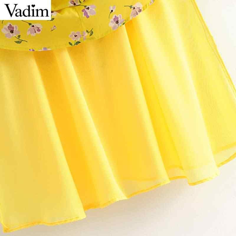 Vadim женское сексуальное платье миди с цветочным принтом желтого цвета с эластичными регулируемыми бретелями сзади женские стильные шикарные пляжные платья vestidos QC449