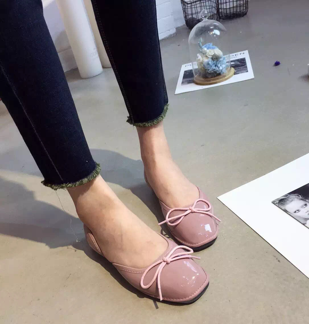 ФОТО 2016 Autumn New Pink Grey Comfort Flat Shoes Womens Loafers Flats Women Ballet Flats Mocasines Mujer
