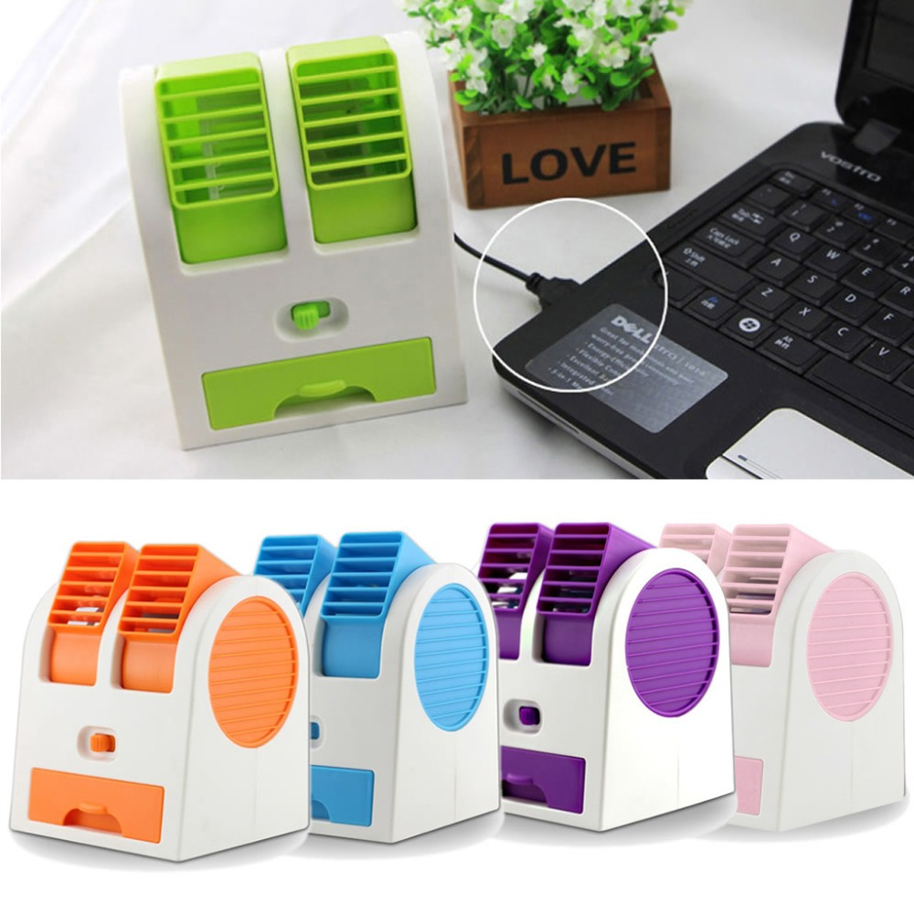 Mini USB Small Fan Cooling Bærbar Desktop Dual Bladeless Air Conditioner