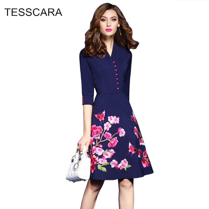 Tesscara Women Chinese Style Embroidery Dress Festa Female High Quality Vintage Designer Vestidos Elegant Party Short Robe Femme Women's Clothing