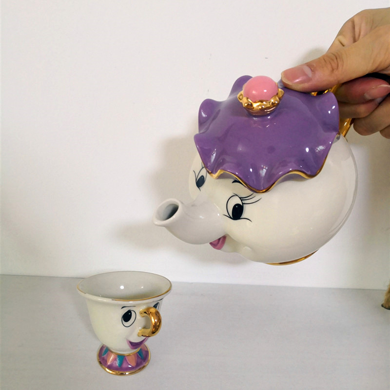 Beauty And The Beast Teapot Mugs Home Decoration Cartoon Mrs Potts Chip Tea Pot Afternoon Water Cups