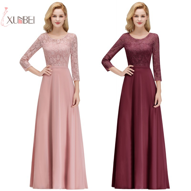 2019 Chiffon Long Bridesmaid Dresses 3/4 Sleeve Applique Wedding Party Guest Gown Robe Demoiselle D'honneur