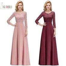 Купить с кэшбэком 2019 Sexy Chiffon Long Bridesmaid Dresses 3/4 Sleeve Lace Applique Wedding Party Guest Dress robe demoiselle d'honneur