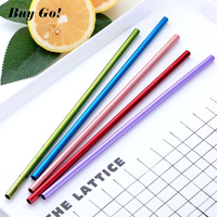 100PCS/Lot Metal Straight Drinking Straws Eco Friendly Stainless Steel Straws+20 Brushes Food Grade Bar Accessories Noble Purple