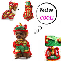 Transer Red Pet Costumes Dog Suit with Cap Lion Dogs Hoodies Cat Coat Clothes Clothing Four Seasons 19Jan10 P40