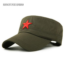 цена на 2018 Red Five-Pointed Star Embroidery Military Hats Black Flat Top Hat Camouflage Army Cap Trucker Outdoor Solid Dad Bone Cotton