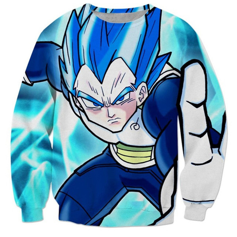 PLstar Cosmos Original design pattern Fashion Long Sleeve Sweatshirt Classic Anime Dragon Ball Z Vegeta 3D print Pullovers