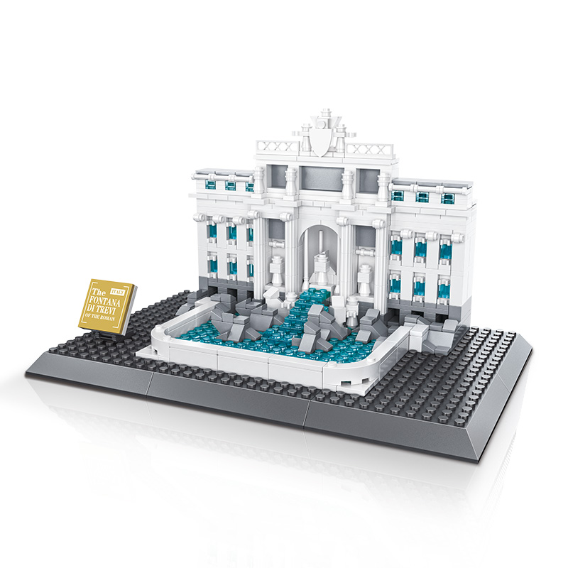 AIBOULLY City 7014 7017 Model The Louvre in Paris Rome Fontana di Trevi building blocks sets Bricks toys compatible with Gift lepin 02012 city deepwater exploration vessel 60095 building blocks policeman toys children compatible with lego gift kid sets