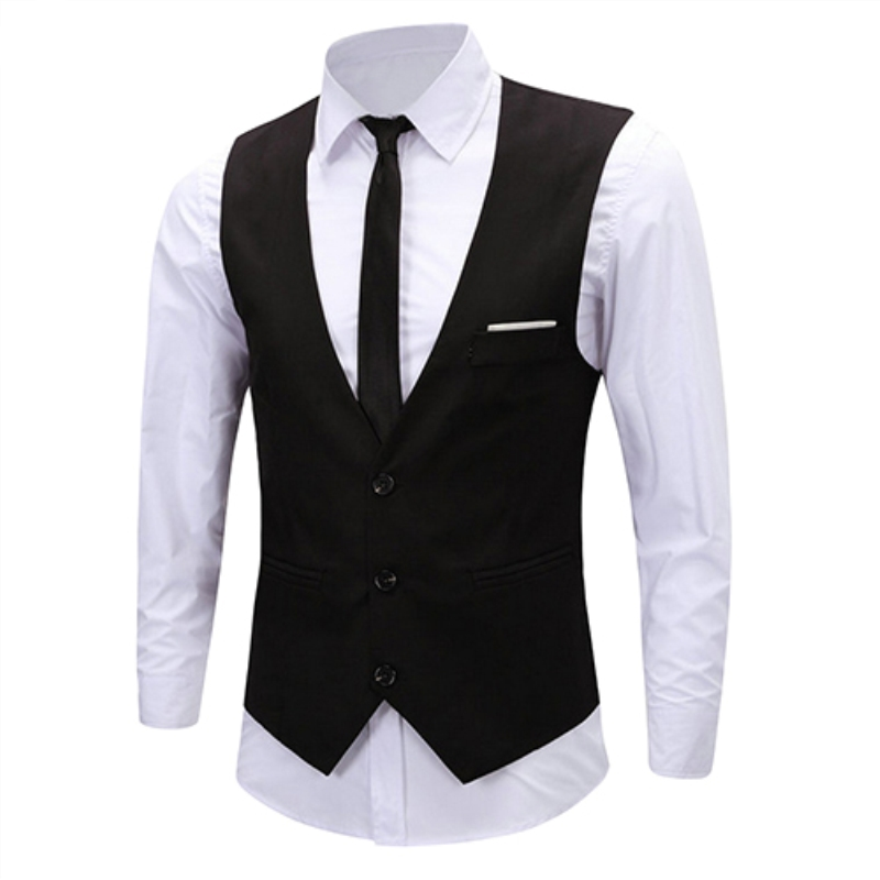 Men's Classic Formal Business Slim Fit Chain Dress Vest Suit Tuxedo Waistcoat(China)