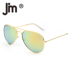 JM 50PCS/LOT Wholesale Vintage Retro Aviation Sunglasses Flash Mirrored Alloy Metal Sun Glasses Women Men Mixed Colors