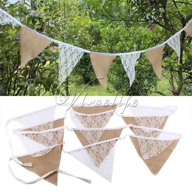 Lin dentelle banderoles triangle 11 drapeaux fanion 2.7 M toile de jute drapeaux bannières pour fête mariage guirlande décoration produit approvisionnement