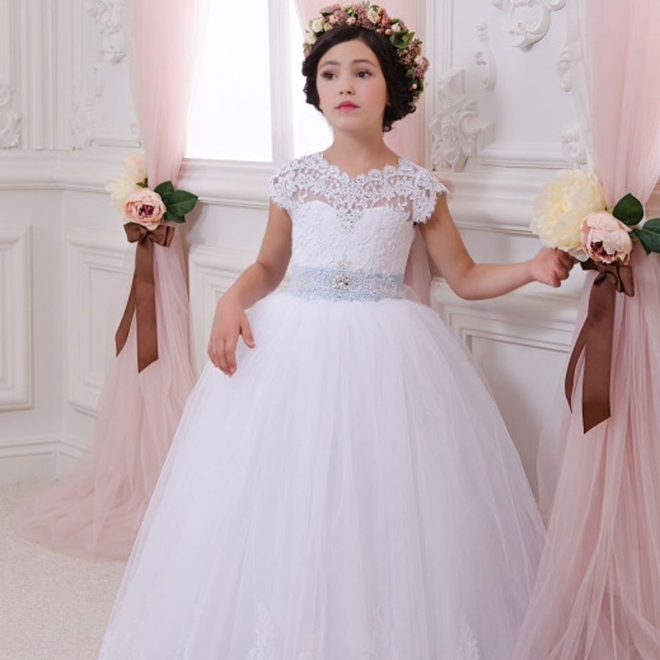 2016 Princess Pageant Dress Round Neck White Short Sleeves Ball Gown Lace Up Flower Girl Dresses with Bow Sash Communion Dress cute new long sleeves white ball gown flower girl dresses french lace beaded first communion dress with sequin bow and sash